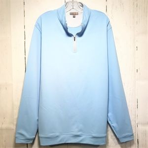 Peter Millar XXL Light Blue Zip Wicking Golf Shirt